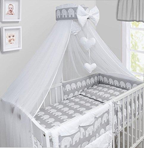LUXURY 10Pcs BABY BEDDING SET COT BED PILLOW DUVET COVER BUMPER CANOPY to Fit Cot Bed Size 140x70cm 100% COTTON (Elephants Grey)