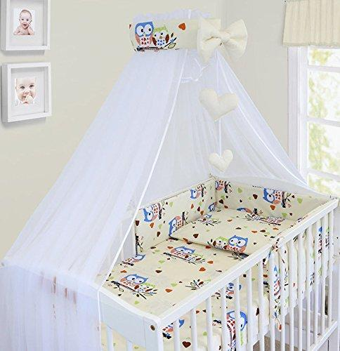 LUXURY 10Pcs BABY BEDDING SET COT BED PILLOW DUVET COVER BUMPER CANOPY to Fit Cot Bed Size 140x70cm 100% COTTON (Owls Cream)