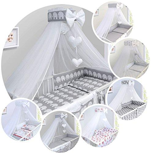 LUXURY 14Pcs BABY BEDDING SET COT 120x60cm PILLOW DUVET COVER BUMPER FEEDING PILLOW COT TIDY CHANGING MAT CANOPY (Elephants on Grey Background)