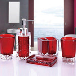 Luxury Acrylic Bathroom Accessories Set with Tooth Brush Holder, Soap Dish, Dispenser and Tumbler, Resin Bathroom Set 5 Pieces (Red)