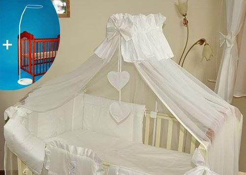 Luxury Baby Cot Bed Canopy/Mosquito Net 480cm + Floor Stand Holder/Rod - HEART WHITE