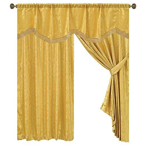 "Luxury Jacquard Fully Lined Malta Pencil Pleat Curtains With Valance Board + free 2 Matching Tie Backs (Amazon Gold, 54"" Width x 90"" Length (117CM x 228CM))"