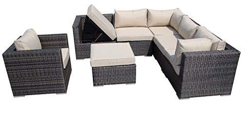 Luxury Rattan Sofa Garden Furniture Courtyard Greenhouse Wicker Outdoor Sun Lounger (color : A)