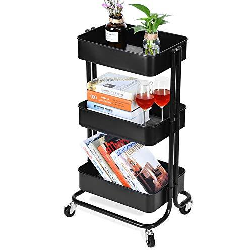 Lv. life 3 Tier Storage Serving Trolley Rolling Cart Metal Mesh Heavy Duty Utility Cart with Lockable Wheels, Black