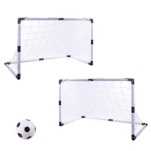 LVPY 2 x Football Soccer Goals Posts with Nets Pegs Ball Pump Kids Childrens Fun Small Mini Portable Indoor Outdoor Sport Training Practice Set