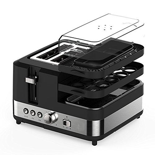 LVZAIXI Toaster And Egg Maker, 5 in 1 Toaster, 2 Slice Toaster With Extra Wide Slots, DefrostReheatCancel Function, Fry Eggs, Boil Eggs And Steam