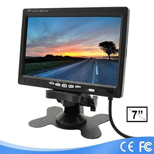Lychee 7 inch TFT Color LCD Car Rear View Camera Monitor Support Rotating The Screen and 2 AV Inputs with an IR remote controller
