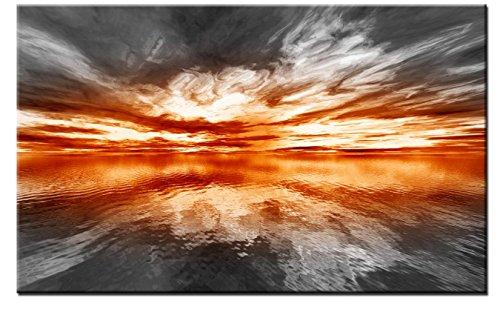 Lynxart Emotorange New Orange grey wall art Large room painting stretched and framed ready to hang. Abstract giclee seascape artwork decoration for home office living room kitchen (80cm x 50cm)