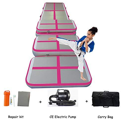 Lysunny Air Track Set Air floor Gymnastics tumbling mat Home Edition (4 pieces) with electric pump (Pink)