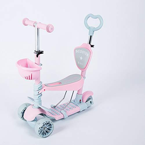 LYZL 5-in-1 children's scooter with push-pull pedal PU car flashing wheel can be pushed to sit and slide, hand bar height adjustable, disassembly (blue/powder),Pink