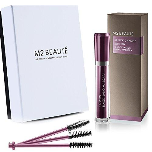 M2 BEAUTE Mascara - 3 LOOKS BLACK NANO MASCARA & M2Beaute Gift Box ,ONE MASCARA, THREE BRUSHES, THREE STYLING EFFECTS