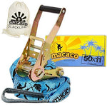 "Macaco Travel Slackline Kit - Slack Line 11m (33'x2"") + Tree Protectors + Instructions + Natural Cottom Bag for Tightrope Kit - Very Easy Setup"