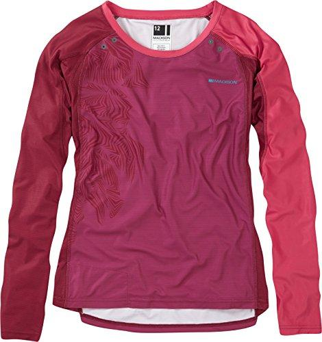 Madison Flux Enduro LS Ladies Jersey - Red, Size 12 / Lady Female Girl Woman Women Shirt Tee T Top Cycling Bicycle Cycle Mountain MTB Trail Biking Bike Clothes Wear Riding Ride Sport Long Sleeve