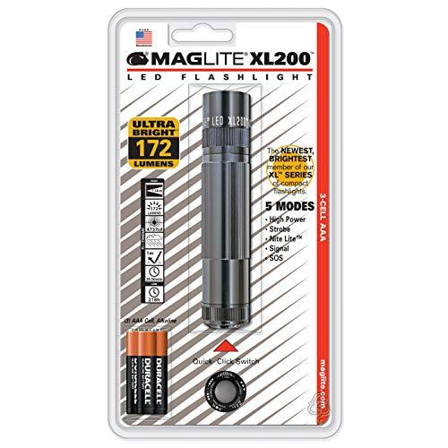 Mag-Lite XL200-S3096 LED Torch with End Cap Switch / 172 Lumens/ANSI Standard / 5 Modes/Titanium Grey
