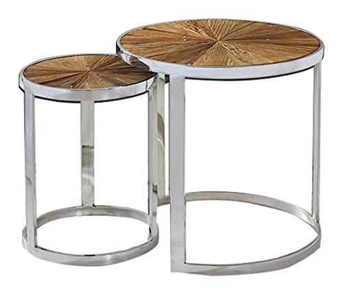 Magari Furniture GL15361537 Eclisse II Reclaimed Elm Wood Nesting End Tables