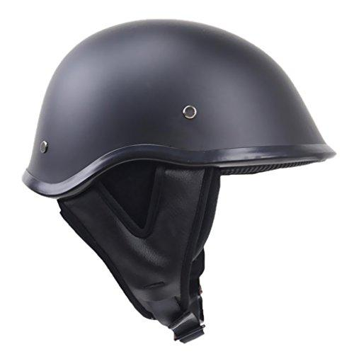 MagiDeal Matte Black Motorcycle Open Face Half Helmet DOT With Nylon Chin Strap - Black, L