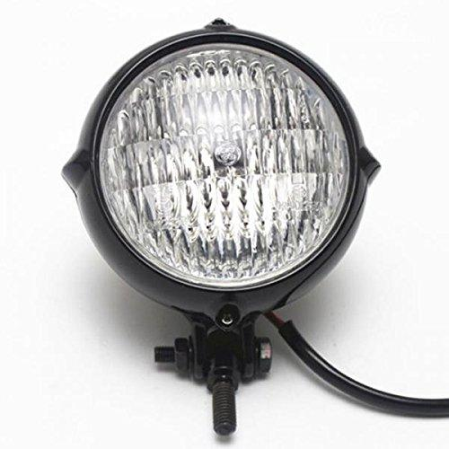 MagiDeal Motorcycle Headlight Amber Light Lamp for Harley Bobber Chopper - Black+Clear