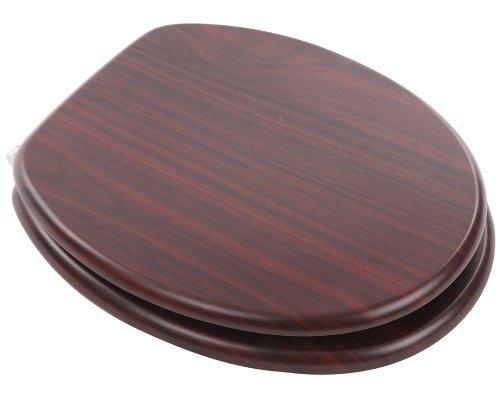 Mahogany finish MDF toilet seat with Chrome finish slow close hinges
