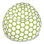 Majestic Home Goods Classic Bean Bag Chair - Large Polka Dots Giant Classic Bean Bags for Small Adults and Kids (28 x 28 x 22 Inches) (Lime Green)