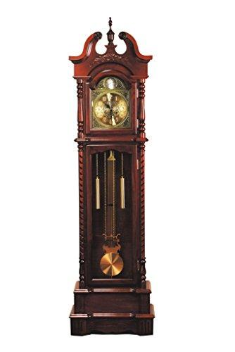 "Major-Q 77"" H Traditional Style Light Gold Analog Face Walnut Finish Grandfather Floor Clock, 9001431"
