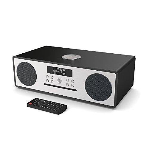 Majority Oakington DAB/DAB+ Digital FM Radio Bluetooth Wireless CD Player Micro Compact Hi-Fi Stereo Speaker System - Remote Control - USB Charging & MP3 Playback (Glossy Black Piano Finish)