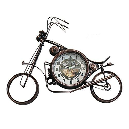 Malayas Motorcycle hanging wall clock retro stylish alarm with iron material for kids and bar room decor