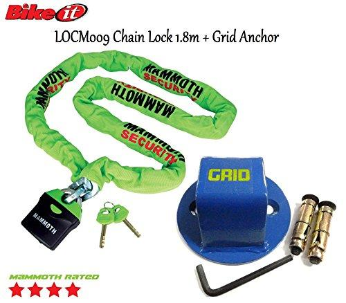 MAMMOTH LOCM009 1.8m SQUARE LINK CHAIN & Motorbike Security Xtrm Grid Ground Anchor