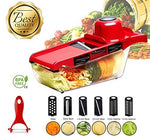Mandoline Vegetable & Fruit Slicers Cutter with 6 Interchangeable Stainless Steel Blades, Peeler, Hand Protector, Storage Container Multi-Function Convenient Kitchen Choppers Tools - Red