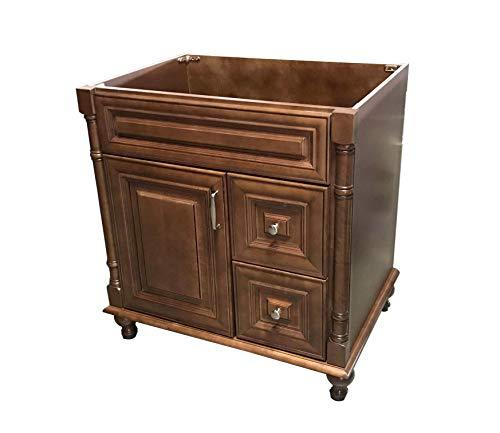 "Maple Walnut Solid Wood Single Bathroom Vanity Base Cabinet 30"" W x 21""D x 32"" H (Right Drawers)"