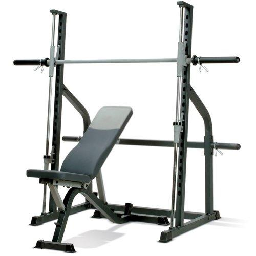Marcy SM600 Smith Machine and Adjustable Utility Weight Bench - Black/Grey, One Size