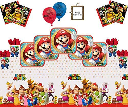 Mario Party Supplies Super Mario Bros Brothers Happy Birthday Tableware Pack For 32- Latex Balloons Plate Cup Napkin Tablecloth Free Photo Frame