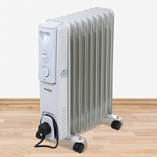 Marko Heating Oil Filled Radiators White Portable Electric Heater Adjustable Thermostat Fire (9 Fin - 2000W)