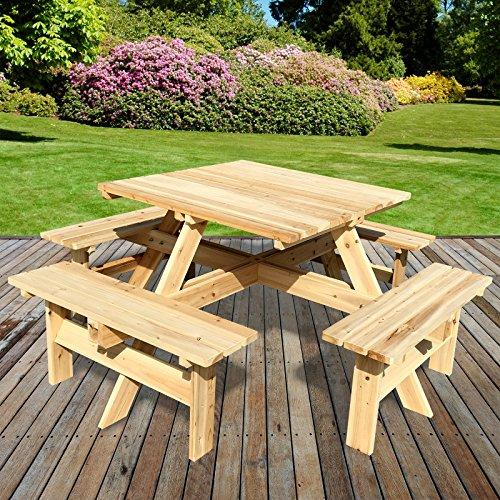 Marko Outdoor Picnic Table Four Bench Pressure Treated Wood Pub - Treated lumber picnic table