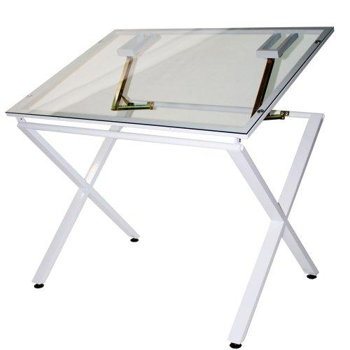 Martin X-Factor Drawing and Hobby Table, White with 30 x 42 Inch Glass Top, 1 Each (U-DS1500W)