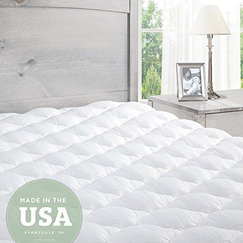 Mattress Topper King Bed - Pillowtop Mattress Pad with Fitted Skirt - Extra Plush Topper Found in Luxury Hotels - Made in the USA - King (UK): 150 x 200 cm