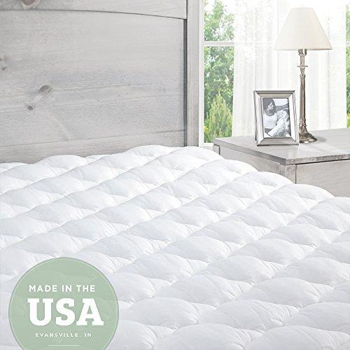 Mattress Topper Super King Bed - Pillowtop Mattress Pad with Fitted Skirt - Extra Plush Topper Found in Luxury Hotels - Made in the USA - Super King: 180 x 200 cm