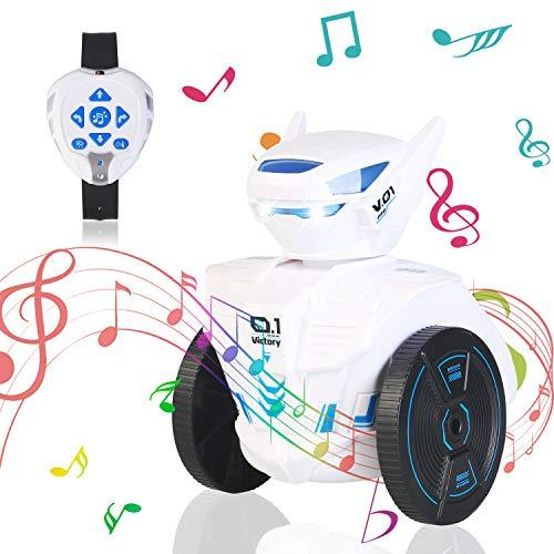 MaxTronic Remote Control Robot Toys for Kids, Intelligent Gravity Sensing Watch 2.4G RC Robots, Singing and Dancing with LED Lights Educational Toys for Children