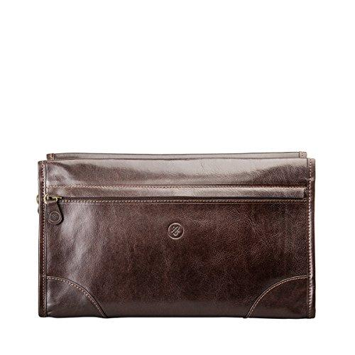 Maxwell-Scott® Men's Brown Full Grain Genuine Leather Travel Wash Bag (The Tanta)
