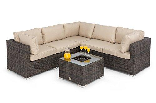 Maze Rattan Garden Furniture Porto Corner Sofa Set with Luxury Inset lce Bucket Coffee Table in Mixed Brown Toned Flat Weave by RATTAN FURNITURE FAIRY