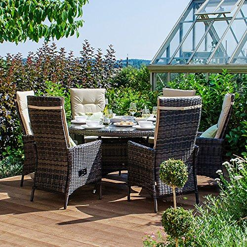 Maze Rattan Outdoor Garden Furniture Ruxley 6 Seat 1.35m Round Table Brown Rattan Dining Set