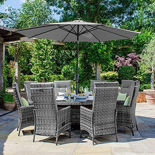 Maze Rattan Outdoor Garden Furniture Ruxley 8 Seat 1.8m Round Table Grey Rattan Dining Set