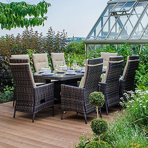 Maze Rattan Outdoor Garden Furniture Ruxley 8 Seat 2m x 1m Rectangular Table Brown Rattan Dining Set