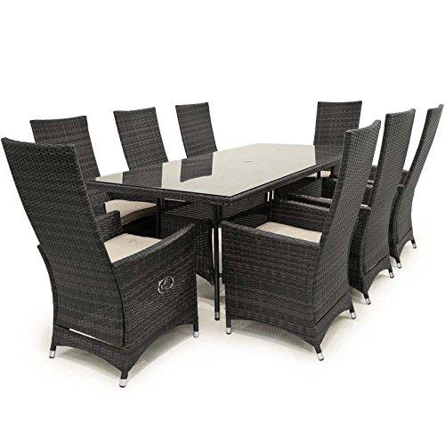 Maze Rattan Outdoor Garden Furniture Ruxley 8 Seat 2m x 1m Rectangular Table Grey Rattan Dining Set
