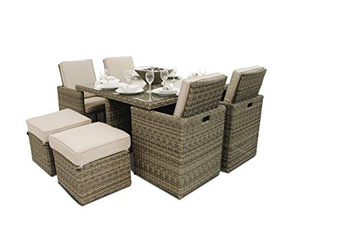 Maze Rattan Winchester Cube Set includes 4 Footstools in a Rounded Weave - Natural Toned (5-Piece)
