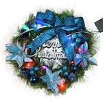 Mcitymall77 Christmas Wreath Artificial Flowers Hanging Plate Xmas Ornaments Garland Garden Lintel Window Door (Blue)