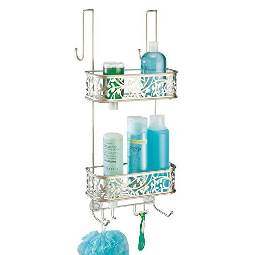 mDesign Compact Over Door Shower Caddy - Toiletry Storage Shelves - Hanging Bathroom Organiser with Hooks - Satin