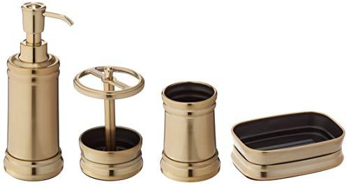 mDesign Set of 4 Bathroom Accessories - Toothbrush Holder, Soap Dispenser, Soap Dish and Bathroom Tumbler - Steel - Brass