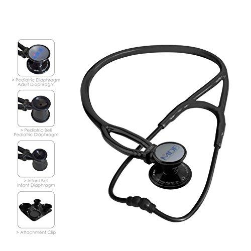 MDF® ProCardial ERA Cardiology Lightweight Dual Head Stethoscope with Adult, Pediatric, and Infant-Neonatal convertible chestpiece - All Black (MDF797X-BO)