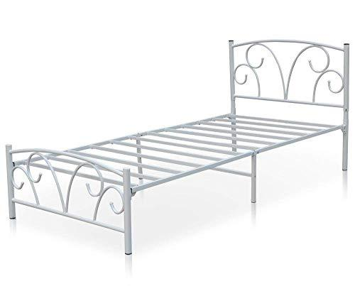 mecor Metal 3FT Single Bed Frame Solid Bedstead Base with 2 Hearts Headboard for Kids Adults(White)