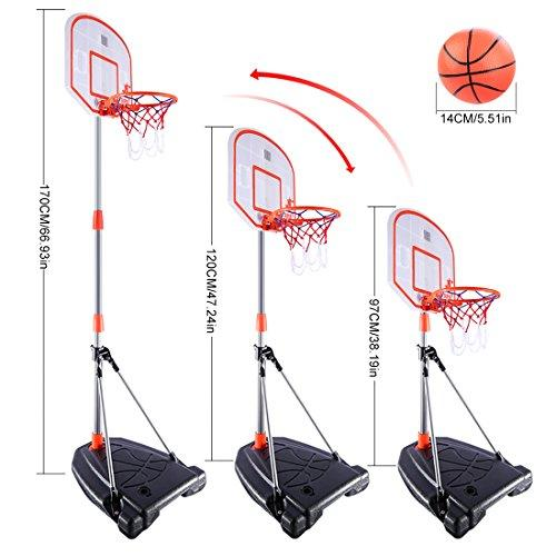 Mecotech basketball stand, 170 cm, basketball stand with scoring device, height adjustable, stable basketball basket with stand, backboard stand hoop set with timer for children